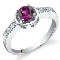 0.75 carat Created Ruby Gemstone Ring in Sterling Silver
