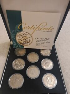 Presentation Boxed 8 x Five Shilling Coins 1951 - 1981 Crown Collection