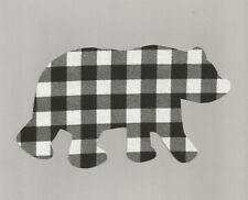 Bear Iron on Fabric Applique (Black and White Plaid)