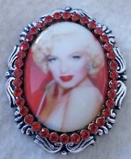 MARILYN MONROE Porcelain Cameo Brooch & Pendant Necklace Ruby Red Rhinestones