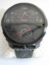DIESEL Reloj machinus DZ7358 Dial Negro Acero Inoxidable Quad zona horaria Nuevo Y En Caja