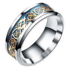 Retro Stainless Steel Jewery Gold&Sliver Fashion Men Dragon Multi-Color Ring