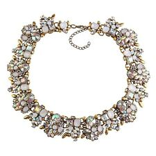 BEAUTIFUL ZARA OPAL WHITE CLEAR STONES COLLAR STATEMENT NECKLACE – NEW