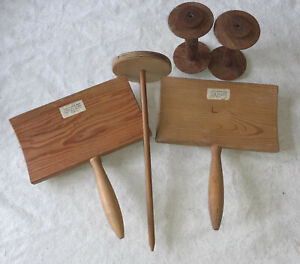 Yarn equipment, 2 Tynsell hand carders, 2 wooden bobbins, 1 drop spindle