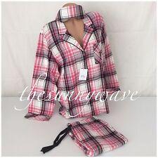 Victoria Secret Dreamer Flannel Pajamas PJ 3 pc Mask Sleep Set Pink Plaid L NWT