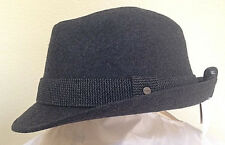 STETSON * MENS CHARCOAL GREY FEDORA HAT * DRESS SUIT WOOL BLEND LINED GOLF SUN