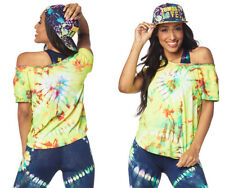 Zumba Fitness Tie Dye For Zumba Tee Shirt Top Size S Caution NWT