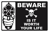 BEWARE...IS IT WORTH YOUR LIFE  - SECURITY SIGN- #PS-503