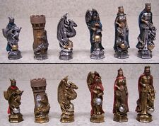 Chess Set with Glass Board King Arthur & Guinevere Fantasy NEW 3½ Kings in color
