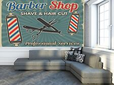 Barber Shop Retro Wall Mural Photo Wallpaper GIANT DECOR Paper Poster Free Paste