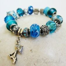 Beach Vacation Turquoise Blue European Charm Bracelet With Turtle And Palm Tree