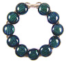 """DICHROIC Link Bracelet Green Olive Teal Striped Dichro Fused Glass .5"""" X 7.5"""""""
