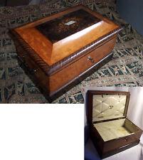 COFFRET boite XIXème COUTURE ou VOYAGE bois de loupe Marqueterie NAPOLEON III