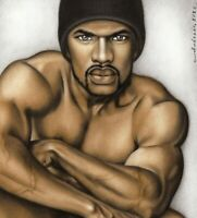 Print Of Male Oil Painting - Untitled Pin Up Art Black Man Figure Artist Andreev