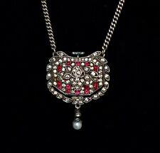 ART DECO Antique WILHELM BECKER *935 SILVER* Paste Stones WATCH Pendant Necklace