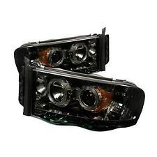 03-05 DODGE RAM 2500/3500 SPYDER SMOKED PROJECTOR HEADLIGHTS W/ LED HALO..