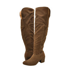 Womens Shoes Qupid Tobin 108 Knee High Block Heel Boots Taupe *New*