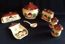 Vintage Mushrooms 9 piece Ceramic Kitchen Set Haruta Empress Japan 1970s