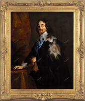 Old Master Art Oil Painting Antique Portrait Man King Charles on Canvas 30x40