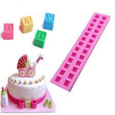 New Hot English Letters 3D Baby Building Block Fondant Cake Molds Chocolate Mold