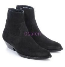 Mens Hi Top Chelsea Western Cowboy ANkle Boots Suede Leather Vintage Cuban Heels