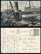 GUERNSEY 1912 ST PETER IN THE WOOD CDS PMK on PPC SHIP DOCKS to ISLE of WIGHT
