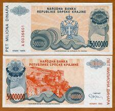 Croatia, Knin 5,000,000 (5000000) Dinara, 1993, P-R24, UNC > Bosnian War