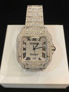 Original Cartier Santos WSSA0018 Men's Wristwatch Customised 24.90 Cts Diamonds
