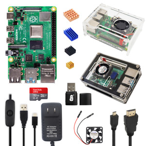 Raspberry Pi 4 Model B 2 4 8GB RAM Basic Kit 9-Layer / Clear Case 5V 3A Power