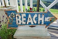 Blechschild Hinweißschild Pfeil To Beach Retro Antik Look 19 x 50 cm Geprägt NEU