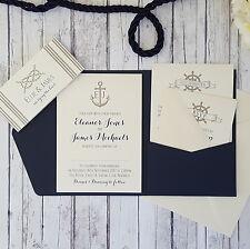 SAMPLE ◦ NAUTICAL Pocketfold Wedding Invitation ◦ Anchor ◦ Boats ◦ Sailing Theme