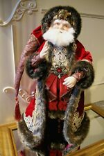 Edler Katherine´s Collection Weihnachtsmann Santa Rot Gold Samt Pelz 63,5cm NEU