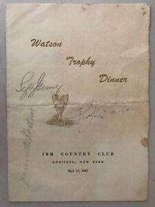 IBM Founder Thomas Watson d.56 Lefty Gomez Signed Autograph 1947 Award Program X