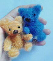 Needle felted wool brown bear and blue bear mini sculpture one of a kind