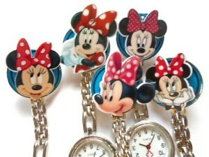 Nurse Watch Clip on Brooch Minnie Mouse Hair Bow Silver Mouse Charm Free UK p&p