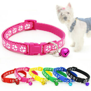 1PC Adjustable Dog Collars Pet Cat Puppy Buckle Nylon Collar with Bell Paw Charm