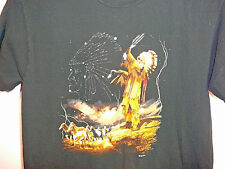 Native American Indian Chief Wild Horses T Shirt Black S
