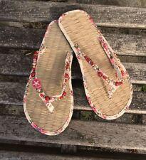 Ladies Straw Flip Flops Pink Floral Small/Medium/Large