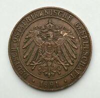 Dated : 1891 - Copper Coin - German East Africa - 1 Pesa - Wihelm II
