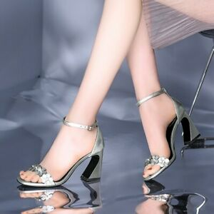 Women's Fashion Leather Metallic Shiny Floral High Heel Beach Sandals Shoes SKGB