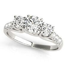 2.10 Carat Diamond Wedding Engagement Sterling Silver Ring Size M  N O