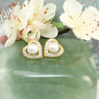 24k Gold Filled Heart Stud Earrings With Cubic Zirconia and Pearl, in a Gift Box