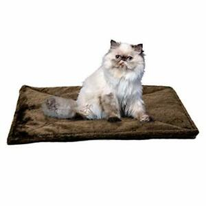 Cat Thermal Bed Pad 22 x 17 Quilted Faux Fur Espresso Soft Self-Warming Core