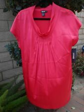 DKNY SHORT SLEEVE PLEATED ROUGE TUNIC TOP 8  NEW WITH TAG