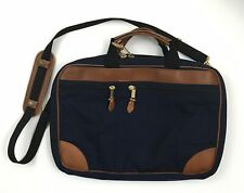 LL Bean Canvas & Leather Travel Briefcase Attache Laptop Bag Navy Blue w Strap