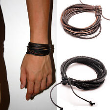2PCS Lot Mens Girls Wrap Leather Charm Bracelet Women Fashion Jewelry Chain