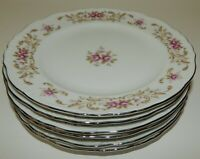 "Set of 6 Vintage Style House Fine China Rose Baroque 7.5"" Luncheon Salad Plates"