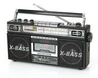 QFX J-22U Retro AM/FM/SW1/SW2 4-Band Radio +Cassette to MP3 Converter, New