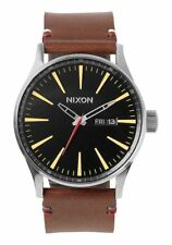 **BRAND NEW** NIXON THE SENTRY LEATHER WATCH BLACK BROWN A105019 NEW IN BOX!