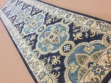 "2'.7"" X 10'.7"" Blue Beige Oushak Persian Oriental Rug Runner Hand Knotted Wool"